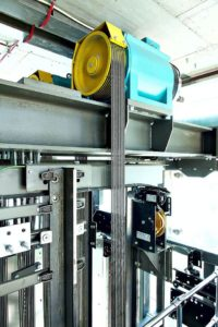 Wittur-mrl-elevator-internal-view-with-gearless-drive-ropes-and-overspeed-governor